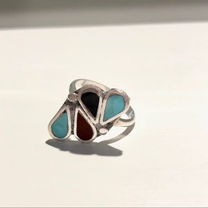 ❌SOLD❌ Zuni Flush Sterling Silver Ring with Inlay